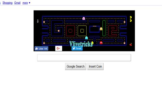 pacman game on google search