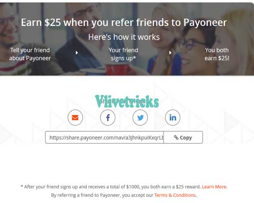 Payoneer Referral Code :Sign up and get $25 Bonus (Low Fees