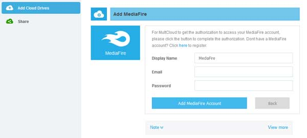 add mediafire cloud drives in multcloud