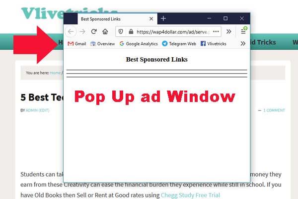 pop up ad window