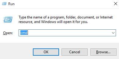 open command prompt via run