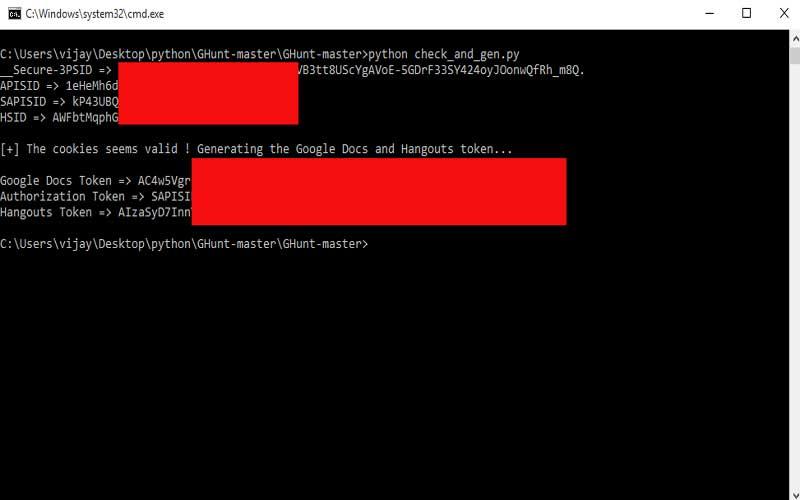 generate authentication token google python script
