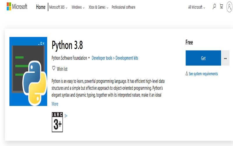 download python 3.8 from microsoft store