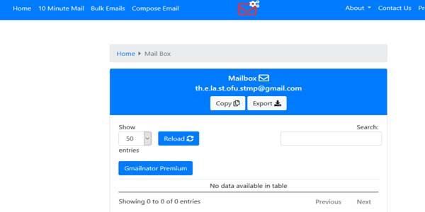 gmail-temporary-inbox for receiving emails