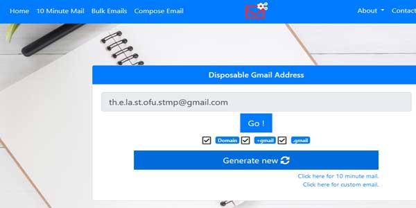 generate temporary gmail address