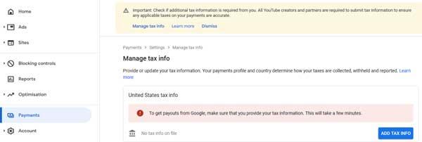 add tax info
