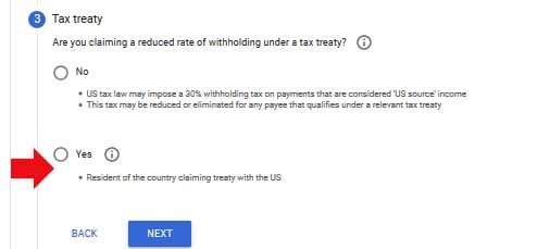 adsense tax treaty option
