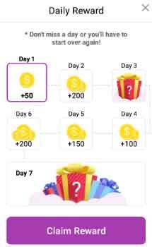 daily reward getinsita